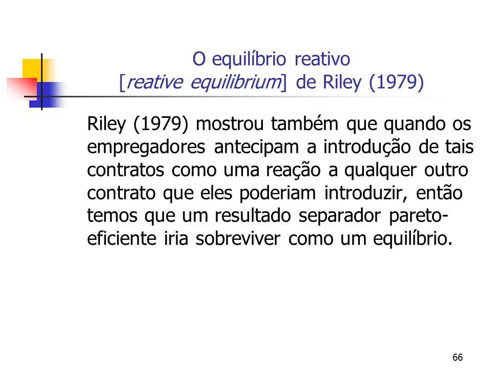 O equilíbrio reativo [reative equilibrium] de Riley (1979)